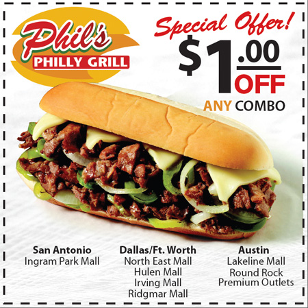 Phil s Philly Grill Coupon San Marcos TX